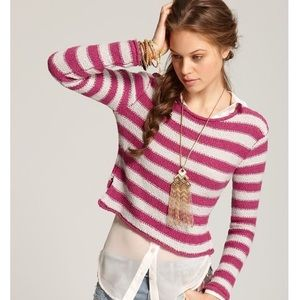 "Free People ""Beach"" Stripe Crop Sweater - Small"